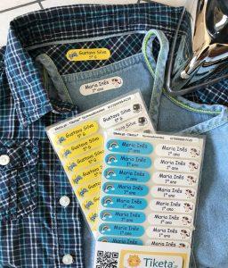 Etiquetas personalizáveis com o nome para identificar os pertences