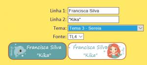 Etiqueta personalizada com nome e diminutivo