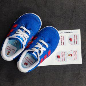 Etiquetas para calçado com o nome