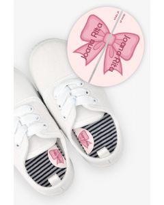 Etiquetas para Calçado Esquerda e Direita - Laço Rosa